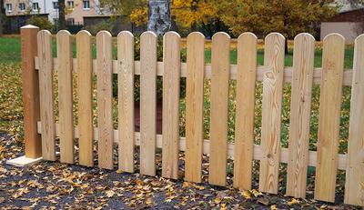 Holzzaune Gartenzaun Europaische Larche Mit Rundbogenlatten Holz