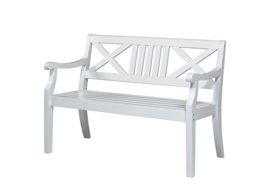 Gartenbank weiß 2 sitzer  Möbel - Gartenbank weiß, 2-Sitzer - Holz im Garten
